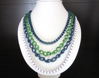 Designer Enamel Painted Multi Chain Necklace By George Multicolor Navy Blue Kelly Green & White