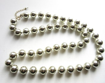 Metallic Silver Chunky Bead Necklace 30 - 33 Inches