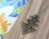 minimal geometric arrow chevron - long necklace -choose length