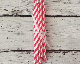 Paper Party Straws : Hot Pink Stripe - Pretty Party Supplies by The Paper Doll