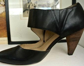 Vintage boho leather shoes - High heel: size 41