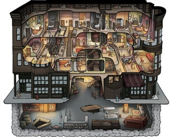 H. H. Holmes Murder Castle Cutaway Illustration 12x12 and Limited Edition 18x24 Prints