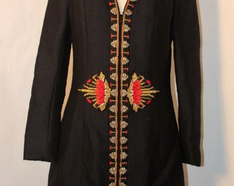 Nikos and Takis All Over Greece Rare 1960's Black Wool with Red/Silver/Gold Embroidery A-Line Jacket