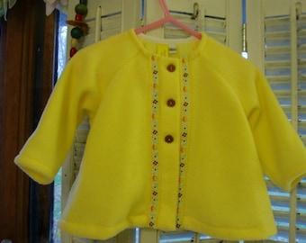 Butter Yellow Fleece Sweater/Jacket, size 12 month