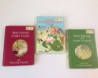 Dandelion Library Books--Set of Three Vintage Children's Books---Instant Collection--Flip Books