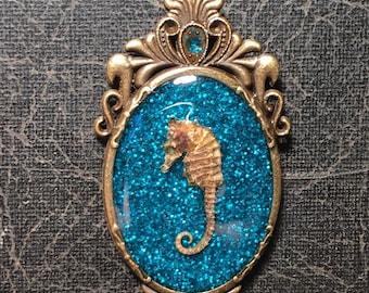 Aqua Blue Pygmy Seahorse Specimen in Resin Cameo Blue Glitter Sea Horse Necklace
