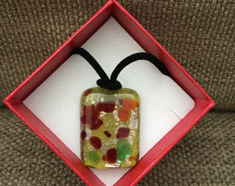 Green and Red Accent Glass Pendant