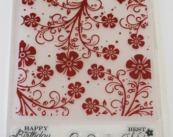 Floral Delight Embossing Folder and Clear Mount Rubber Stamp Set from Quick Cards