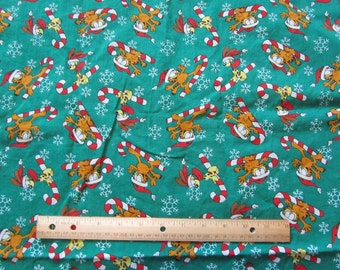 Green Garfield/Odie Christmas Candy Cane Cotton Fabric by the Half Yard