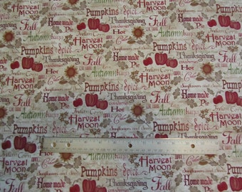 Tan Harvest Blessing Words Henry Glass Cotton Fabric by the Half Yard