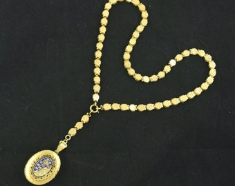 Antique Book Chain Locket Necklace Victorian Gold Filled Orig.Pic Double Sided Chain Vintage ~ Lot 711