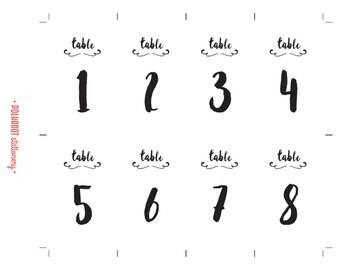 Handwritten-style DIY printable table numbers