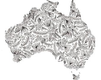 "Australia Patterned Art Print 8""x10"""