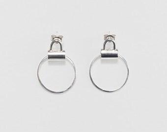 Silver Tube Handle Earrings