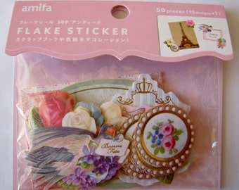 """SALE Amifa of Japan Die Cut Stickers/Labels  """"ROMANCE"""" with golden accents. Scrapbooking, Planners, Paper crafts. 50 pieces"""