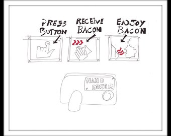 """Digitally Coloured Illustration: """"Bacon"""" - Pen and ink blind comic contour drawing of instructions on how to dry your hands. A4"""