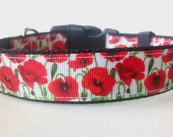 Floral Dog Collar - Adjustable Dog Collar - Poppy Collar, Flower Collar