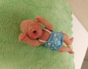 Handmade Ooak Art Yawning Baby Girl in Blue Poka Dot Sun Dress.