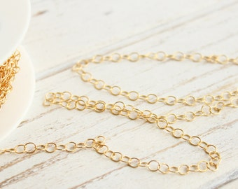 14kt Gold Filled Unfinished 3.5 mm Cable Chain by the Foot -  3 feet.... 5 feet... 10 feet...
