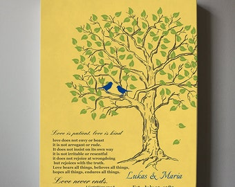 Anniversary Gift Custom Family Tree Canvas Art Personalized Wedding Tree ,Love is Patient Bible Verse 1 Corinthians 13,