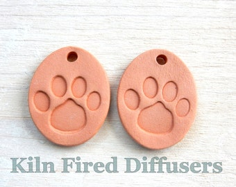Dog Cat Paw Print Aromatherapy Jewelry Essential Oil Diffuser Necklace Pet Lover Terra Cotta Pendant Kids Childrens Natural Organic Gift