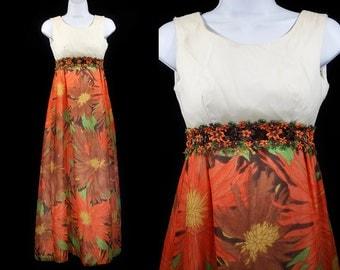 Vintage 60's Maxi Dress Orange Floral Prints w/ Appliqué Waist XS/S