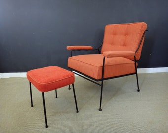 Mid Century Re-Upholstered Chair with Ottoman