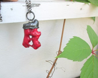 Natural Red Coral Branchs, Large Raw Necklace, Tiffany method,