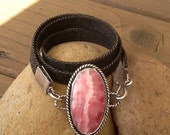 Rhodochrosite and Denim Wrap Bracelet