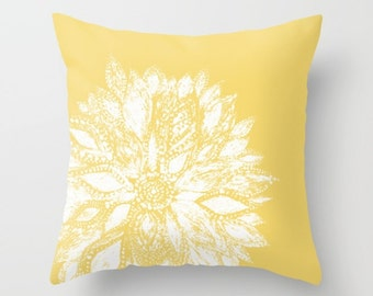 Mustard Yellow Flower Throw Pillow, flower throw pillow, yellow flower pillow, mustard throw pillow, floral throw pillow