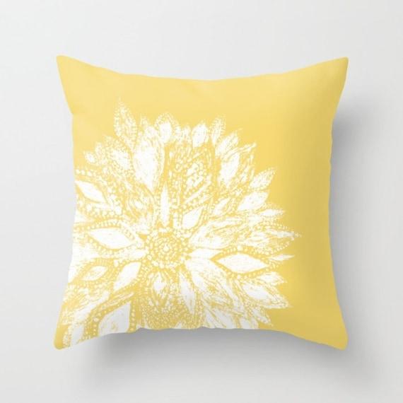 mustard yellow flower throw pillow cover flower throw pillow. Black Bedroom Furniture Sets. Home Design Ideas