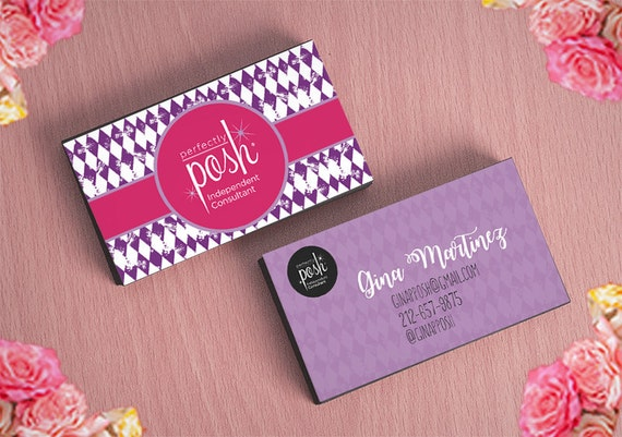 perfectly posh business card template layered psd no 1 pink and purple harlequin editable card. Black Bedroom Furniture Sets. Home Design Ideas