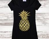 Pineapple. Pineapple Shirt. Pineapple Tee. Gold Pineapple. Womens T Shirt. Tumblr Tee. Gold Foil Pineapple. Graphic Tee. Plus Size Women