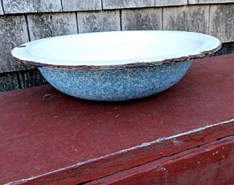 Graniteware Tub, Vintage Enamel Basin, Blue Enamelware Pan, Rustic Enamelware Planter, Enamel Tub