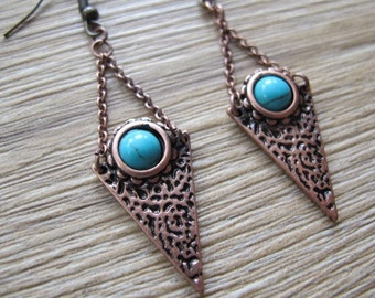 Brass and Turquoise Triangle Nickel Free Earrings