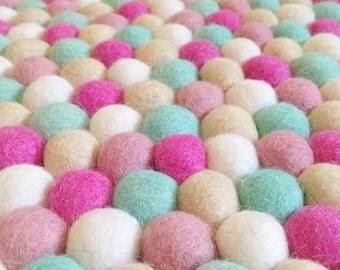 Beautiful Handmade felt ball 'pom pom' rugs