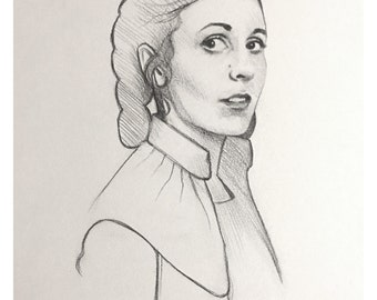 """Original, Signed Pencil Drawing on Watercolor Paper By James Hance - """"Leia"""""""
