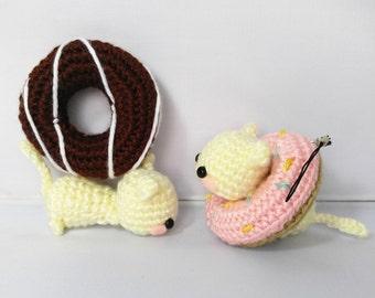 Amigurumi Cat Donut, Crochet Cat, Donut Charm