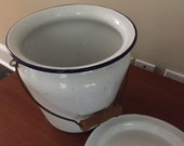 Vintage Enamel Porcelain Chamber Pot with Handle and Lid