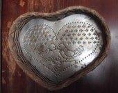 Vintage Wicker/punched tin heart basket