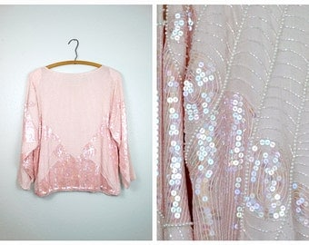 PEARLESCENT Beaded Sequined Long Sleeve Top / Iridescent Pink Sequin Pearl Beaded Trophy Blouse
