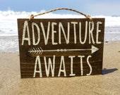 "Adventure Awaits Wood Sign / Hippie Sign / Bohemian Decor / Bohemian Wall Decor / Wood Wall Art / Gypsy Decor / Cabin Decor - 10"" x 7.5"""
