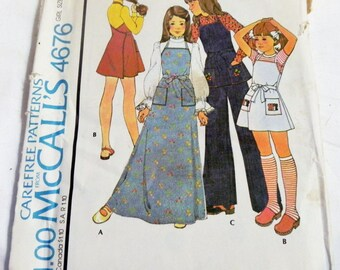 """1970s Boho Girls Wrap Apron Dress Jumper Top and Pants sewing pattern Size 12 OR 14 Bust 30 OR 32"""" UNCUT ff"""