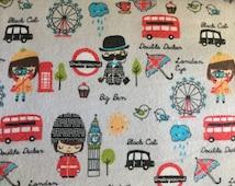 FLANNEL - England Fabric - English Fabric- Big Ben Fabric - London Eye Fabric - Double Decker Fabric - Buckingham Palace Guards Fabric