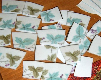 40% Off, Hand Cut China, Broken China,178 Pieces,Mosaic Pieces, Aqua , Green Leaf Design,  Mosaic Supplies