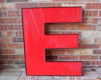 "GIANT Reclaimed RED Plastic Sign Letter ""E"", Valentine, Wedding, Industrial Salvage, Home Decor, Office Decor, Industrial Decor"