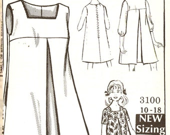 Mail Order 3100 Retro 1960s Tent Dress With Sleeve Options Sewing Pattern Sz 12