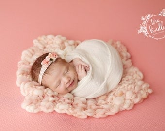 Newborn Photography Fabric Backdrop -  Thick Tricia Knit Backdrop in Coral -  2 Yards