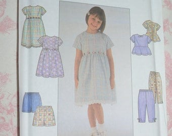 SImplicity 8576 Childs Dress or Top and Pants or Shorts Sewing Pattern - UNCUT - Sizes 5 6 6X