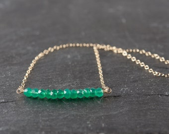 Dainty Green Onyx Gemstone Necklace, Delicate Gemstone Bar Necklace, Sterling Silver or Gold Fill Chain